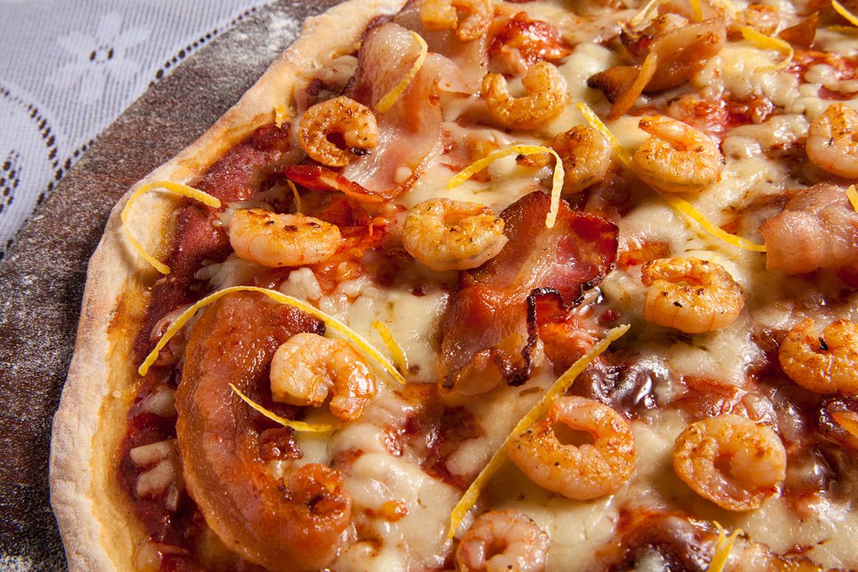 Pizza de Camarão, Bacon e Limão